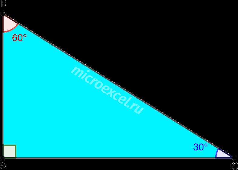 Прямоугольный треугольник с острым углом в 30 градусов