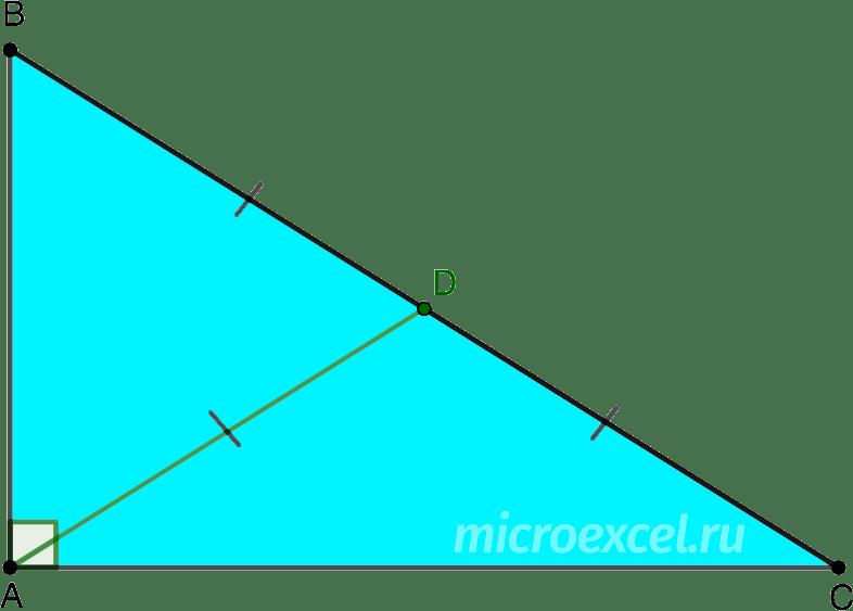 Медиана прямоугольного треугольника опущенная на гипотенузу