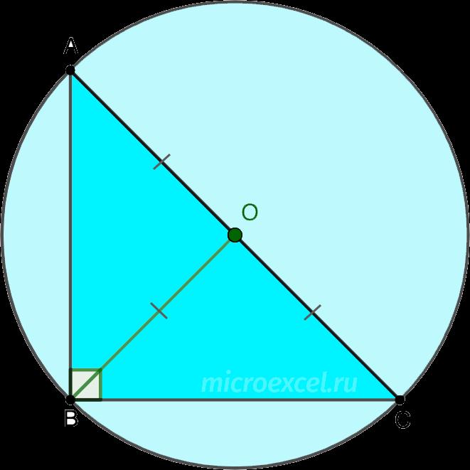 Описанная вокруг прямоугольного треугольника окружность
