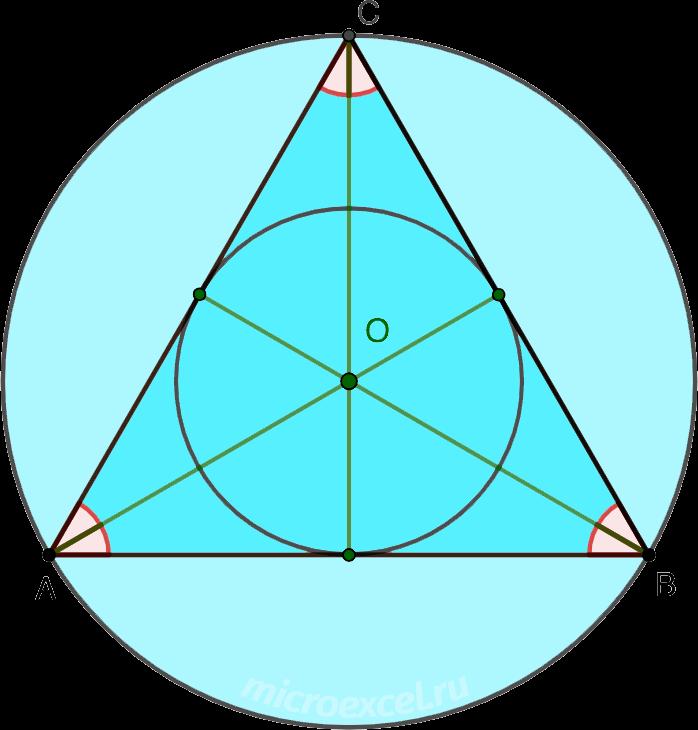 Центры вписанной и описанной вокруг равностороннего (правильного) треугольника окружностей