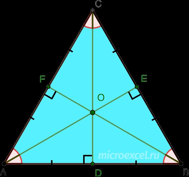Пересечение биссектрис, медиан и высот равностороннего (правильного) треугольника