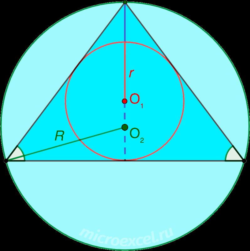 Описанная вокруг и вписанная в равнобедренный треугольник окружности