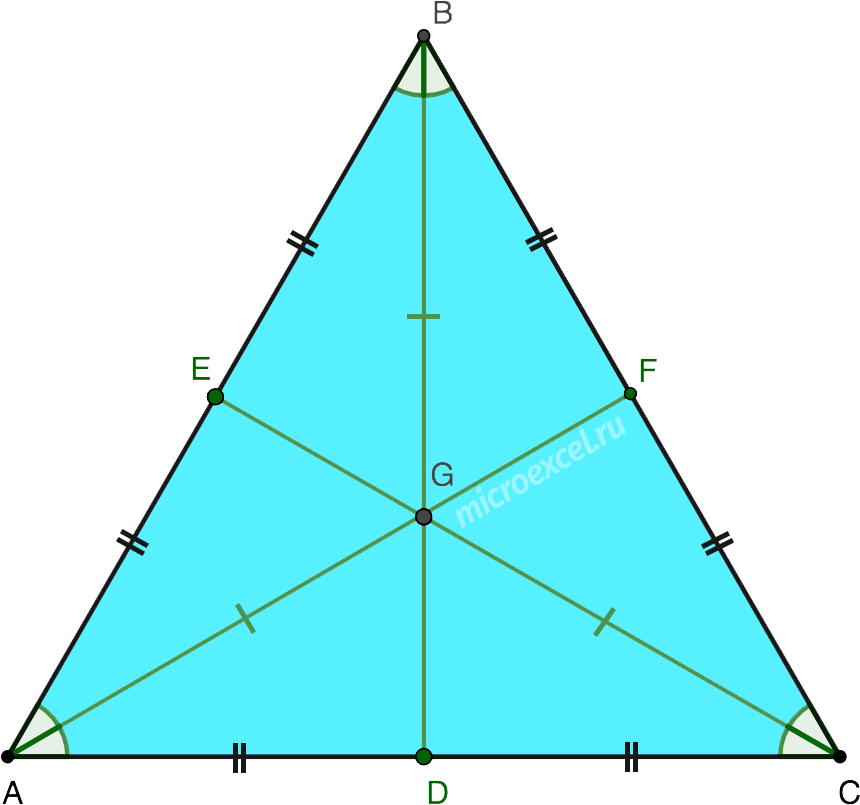 Равенство биссектрис в равностороннем треугольнике