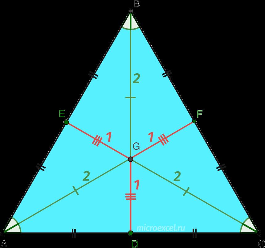 Деление биссектрис равностороннего треугольника в точке пересечения