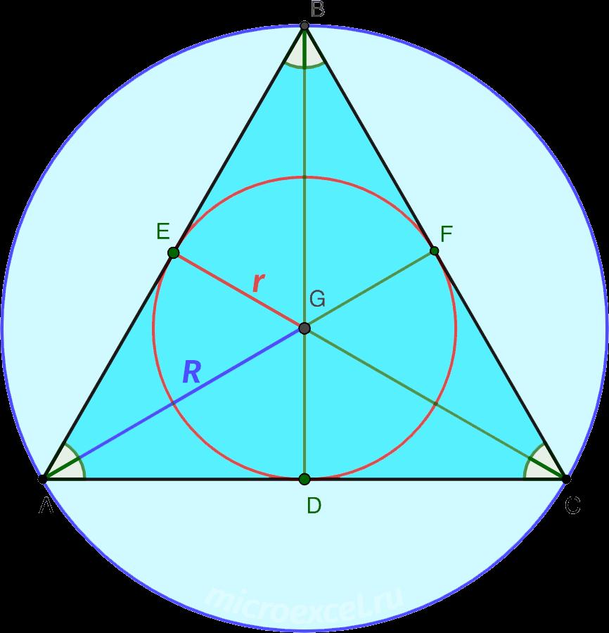Центры описанной и вписанной в равносторонний треугольник окружностей в точке пересечения биссектрис