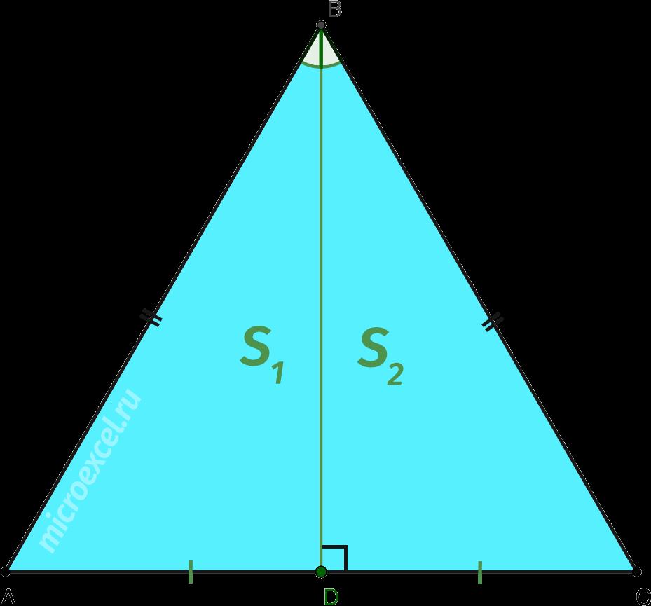 Деление равностороннего треугольника биссектрисой на два равновеликих прямоугольных треугольника