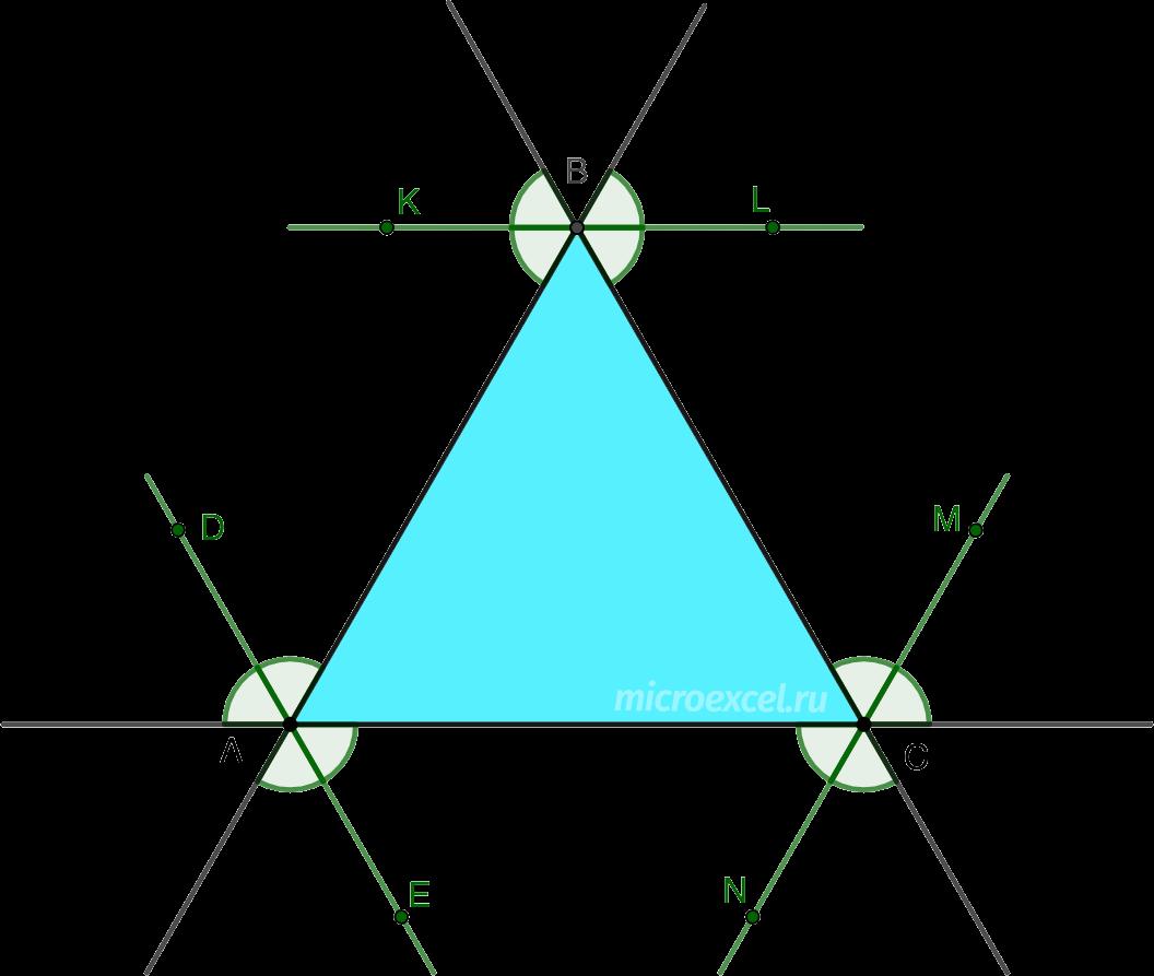 Параллельность внешних биссектрис углов равностороннего треугольника противолежащим сторонам