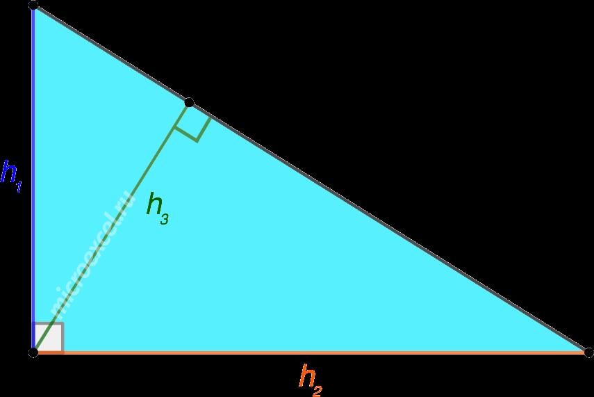 Три высоты в прямоугольном треугольнике