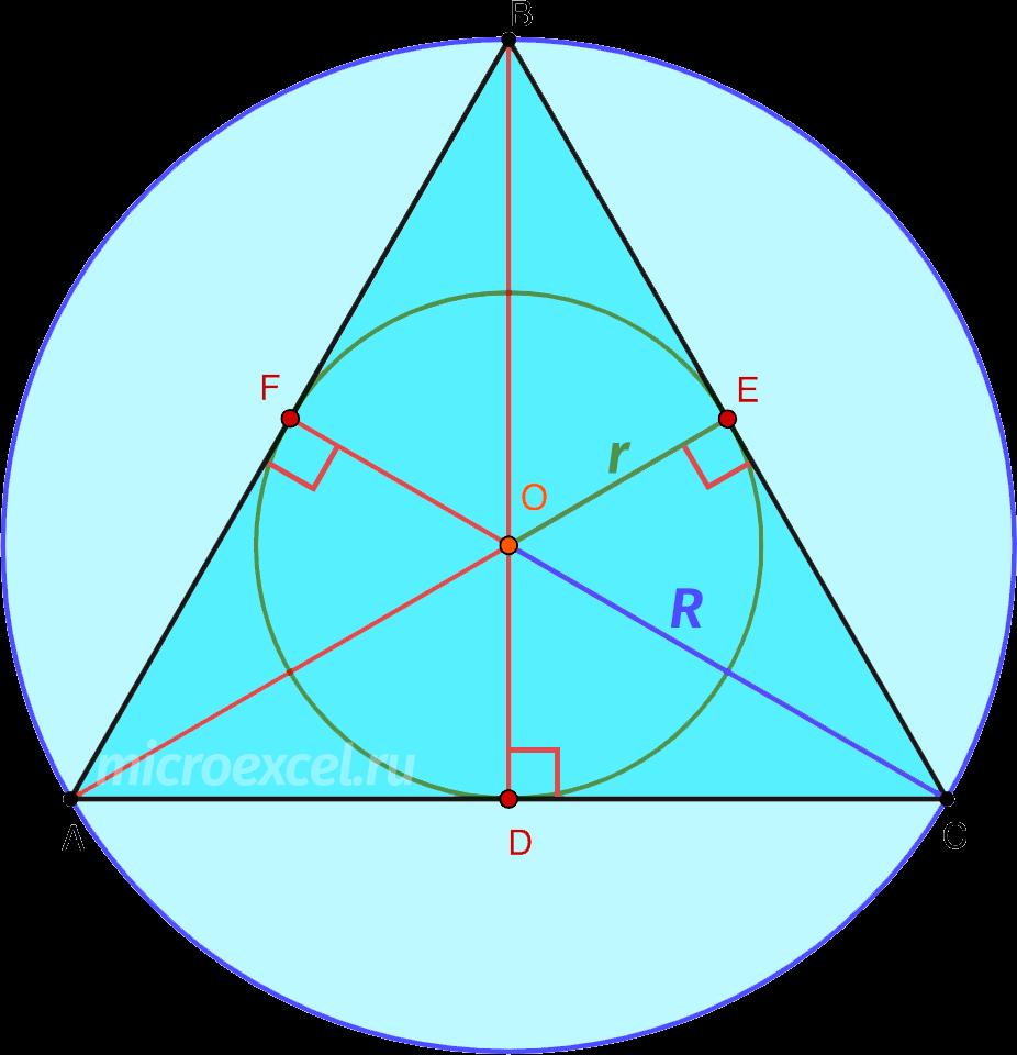 Ортоцентр равностороннего треугольника как центр вписанной и описанной окружностей