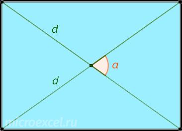 Прямоугольник с диагоналями d и углом α между ними