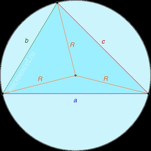 Треугольник abc с описанной вокруг окружностью с радиусом R