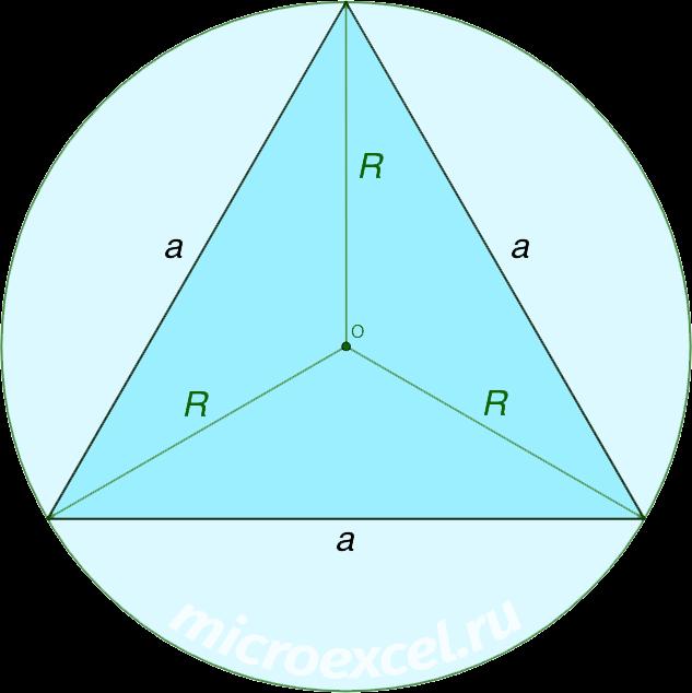 Равносторонний треугольник c описанной вокруг окружностью