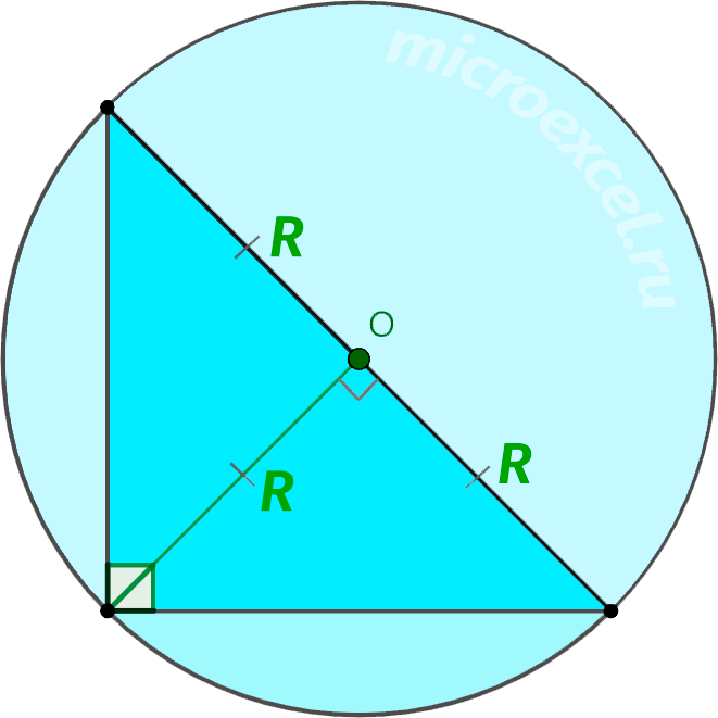 Прямоугольный треугольник с описанной вокруг окружностью