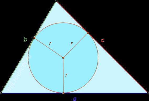 Треугольник abc со вписанной окружностью с радиусом r