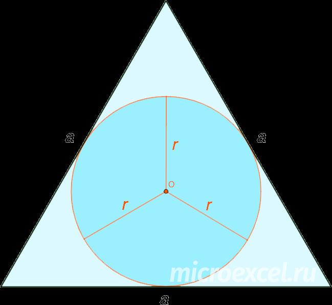 Равносторонний треугольник со вписанной окружностью
