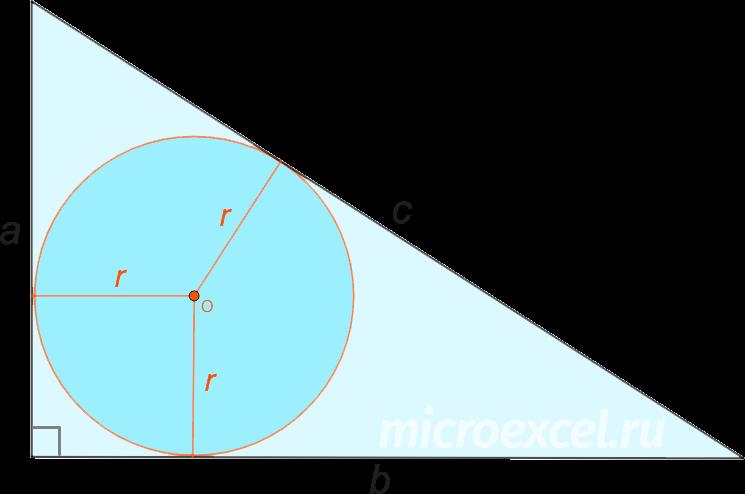 Прямоугольный треугольник со вписанной окружностью