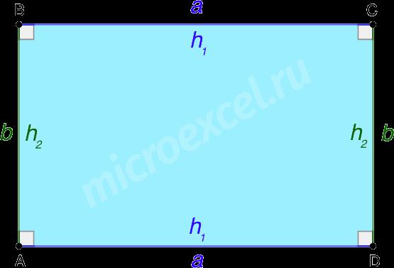 Высоты прямоугольника
