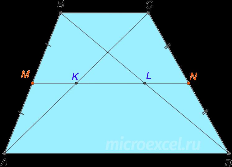 Отрезок между серединами диагоналей трапеции