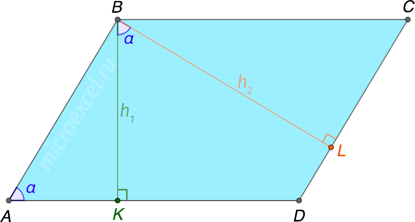 Угол между высотами параллелограмма