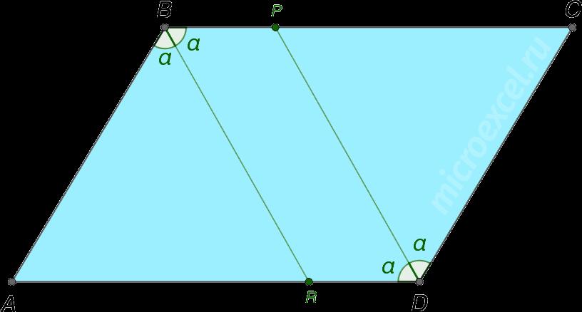 Параллельность биссектрис углов параллелограмма