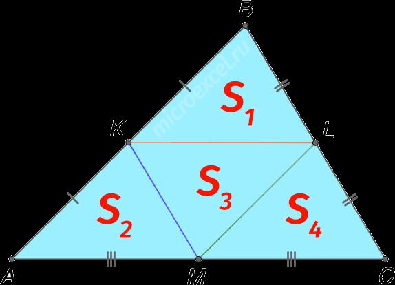 Деление треугольника на 4 равных треугольника тремя средними линиями