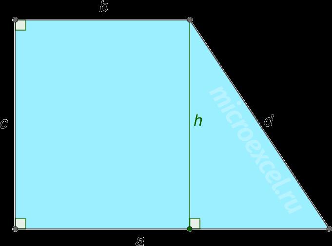 Высота прямоугольной трапеции abcd
