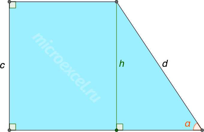 Высота прямоугольной трапеции с углом при основании α