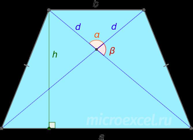 Диагонали и высота равнобедренной трапеции