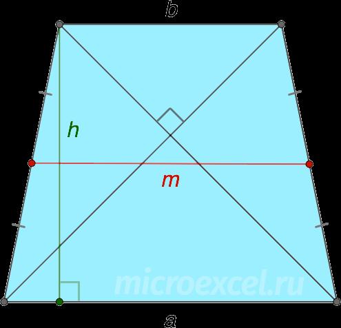 Равнобедренная трапеция с перпендикулярными диагоналями