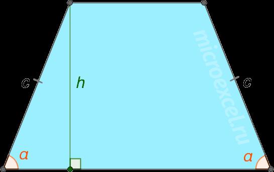 Равнобедренная трапеция с боковой стороной c и прилежащим углом α