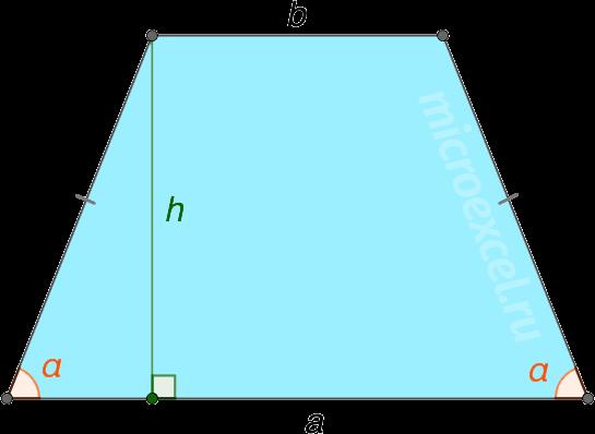 Равнобедренная трапеция с основаниями a и b и углом при основании α