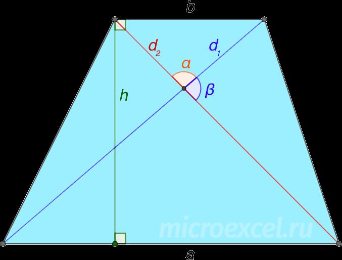 Трапеция с диагоналями и высотой