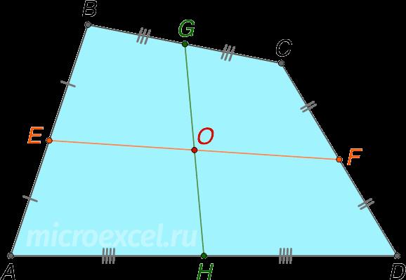 Пересечение средних линий выпуклого четырехугольника