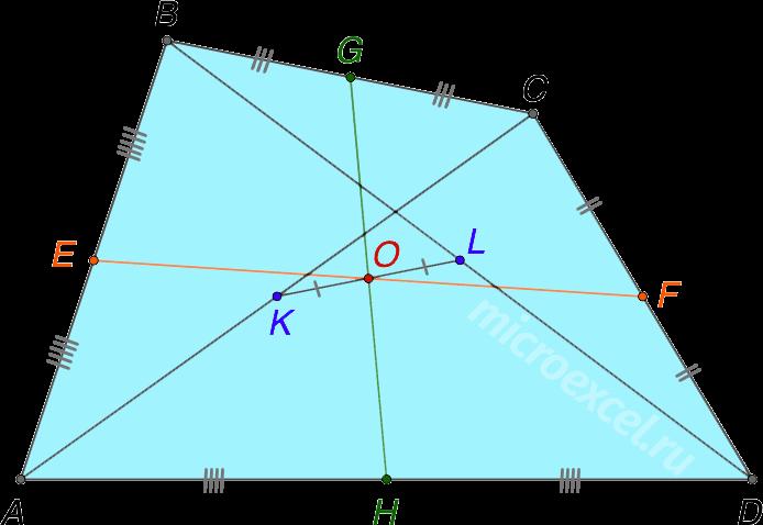 Точка пересечения средних линий выпуклого четырехугольника
