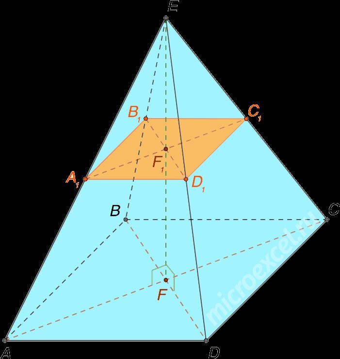 Сечение четырехугольной пирамиды плоскостью параллельной основанию