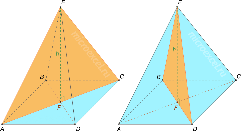 Диагональное сечение четырехугольной пирамиды