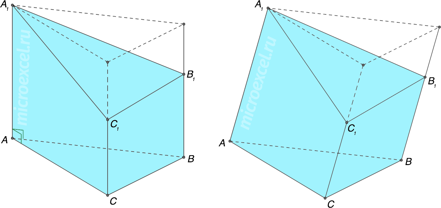 Усеченная треугольная призма (прямая и наклонная)