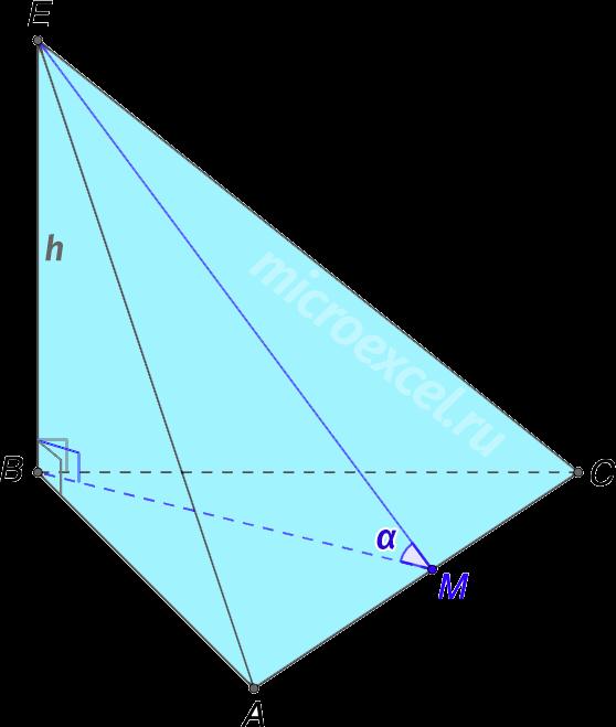 Треугольная пирамида с ребром перпендикулярным основанию