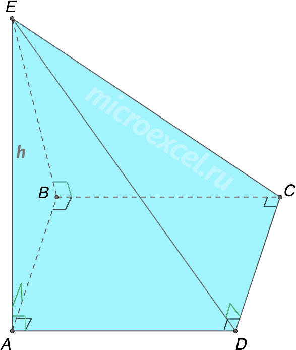 Четырехугольная пирамида с ребром перпендикулярным прямоугольному основанию