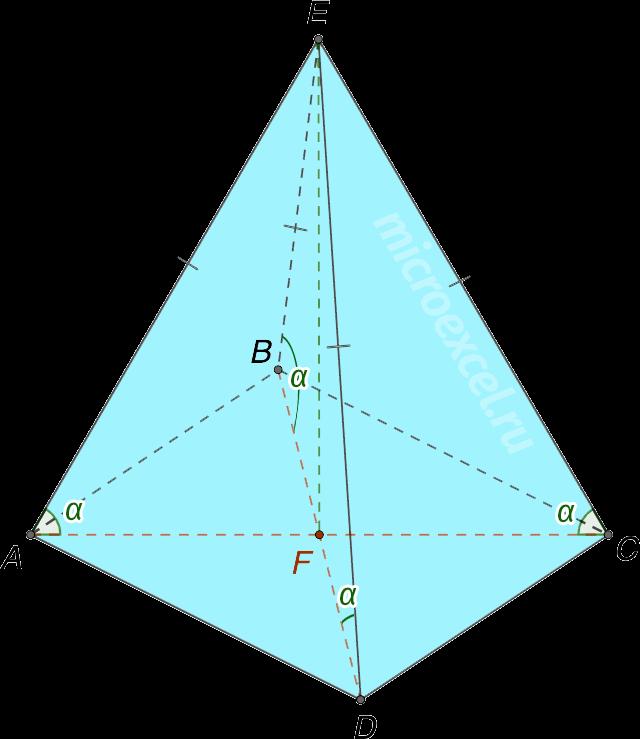 Равенство боковых ребер пирамиды (углов между ребрами и основанием)