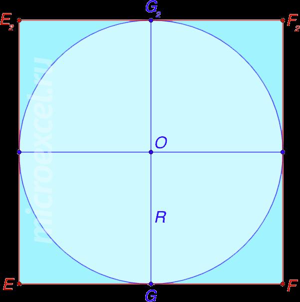Квадрат со вписанной в него окружностью