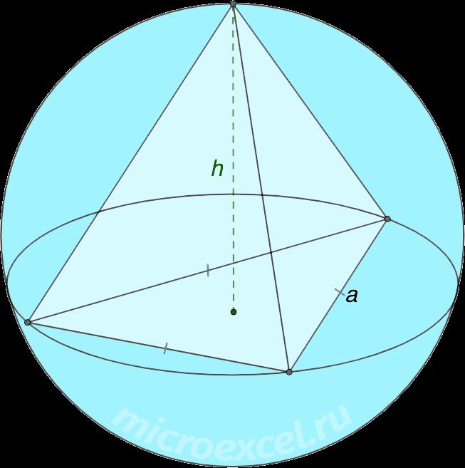 Описанная около правильной треугольной пирамиды сфера (шар)