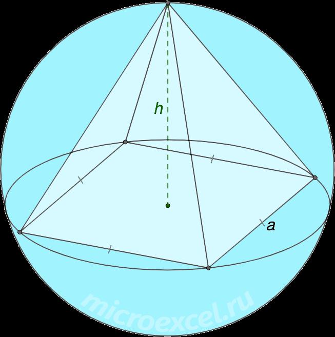 Описанная около правильной четырехугольной пирамиды сфера (шар)