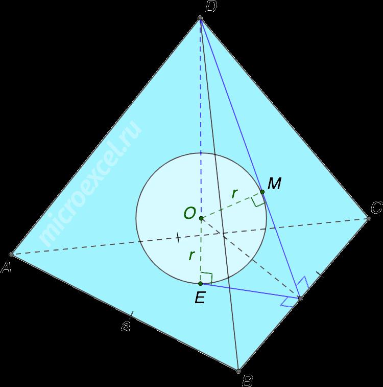 Вписанный в правильную треугольную пирамиду шар (сфера)