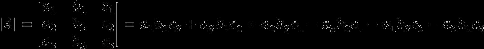 Пример расчета определителя матрицы третьего порядка