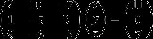 Пример записи системы линейных уравнений в матричной форме