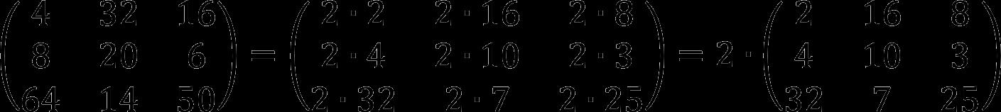 Пример вынесения общего множителя за рамки матрицы