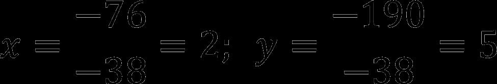 Расчет корней системы линейных уравнений методом Крамера (пример)