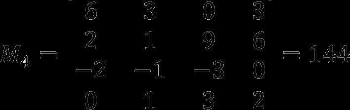 Пример расчета минора 4 порядка