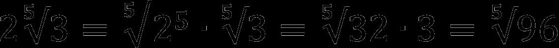 Пример внесения множителя под корень пятой степени